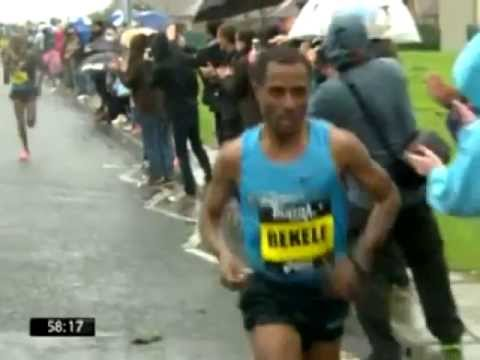 Kenenisa  left Mo Farah the British Champion  in down hill speed  at the Great North